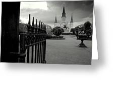 Jackson Square Gate With St. Louis Cathedral And Storm Clouds Greeting Card