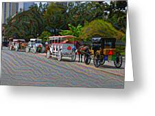 Jackson Square Horse And Buggies Greeting Card
