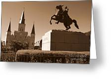 Jackson Square In New Orleans - Sepia Greeting Card
