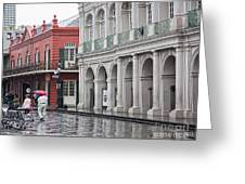 Jackson Square Rainy Day  Greeting Card