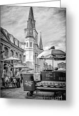 Jackson Square Scene New Orleans - Bw  Greeting Card