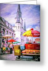 Jackson Square Scene - Painted - Nola Greeting Card