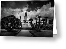 Jackson Square Sunrise In Black And White Greeting Card