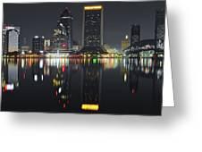 Jacksonville Black Night Lights Greeting Card