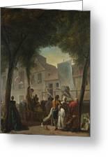 Jacques De Saint Aubin   A Street Show In Paris Greeting Card