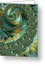Jade And Yellow Fractal Spiral Greeting Card