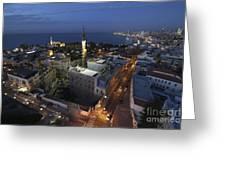 Jaffa At Night Aerial View Greeting Card