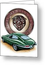 Jaguar Xke British Racing Green Greeting Card by David Kyte