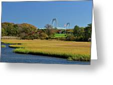 Jamestown Marsh With Pell Bridge Greeting Card