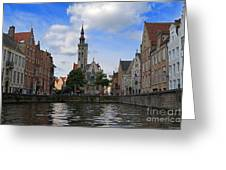 Jan Van Eyck Square With The Poortersloge From The Canal In Bruges Greeting Card