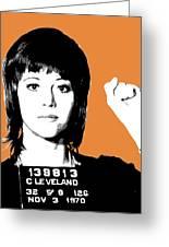 Jane Fonda Mug Shot - Orange Greeting Card
