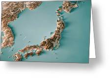 Japan 3d Render Topographic Map Neutral Border Greeting Card