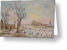 Japanese Art And Semblance Of Aert Van Der Neer Greeting Card