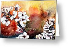 Japanese Cherry Blossom Abstract Flowers Greeting Card
