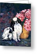 Japanese Chin And Hydrangeas Greeting Card