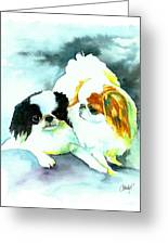 Japanese Chin Dog Greeting Card by Christy  Freeman