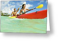 Japanese Couple Kayaking Greeting Card