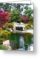 Japanese Garden Bridge And Koi Pond Greeting Card