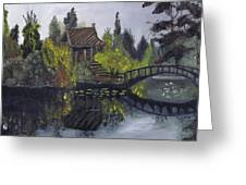Japanese Garden With Bridge Greeting Card