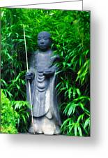 Japanese House Monk Statue Greeting Card