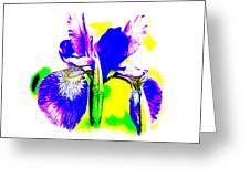 Japanese Iris Pop Art Abstract Greeting Card