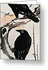 Japanese Print: Crow Greeting Card
