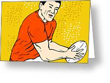 Japanese Rugby Player Passing Ball Greeting Card