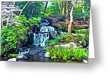 Japanese Waterfall Garden Greeting Card