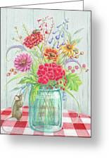 Jar Of Flowers Greeting Card