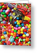 Jar Spilling Bubblegum With Candy Greeting Card by Garry Gay