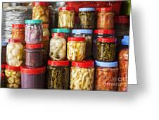 Jars Of Asian Style Pickles In Kep Market Cambodia Greeting Card