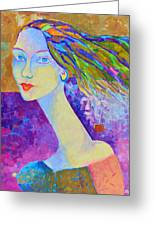 Modigliani Style Portrait Of A Woman Painting Colorful  Greeting Card