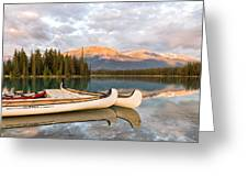 Jasper Lake Canoes Greeting Card