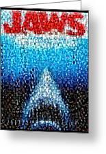 Jaws Horror Mosaic Greeting Card by Paul Van Scott