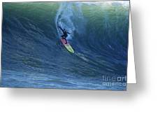 Jay Drops In At Mavericks Greeting Card by Stan and Anne Foster