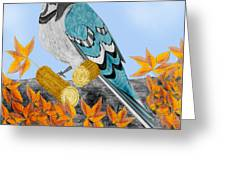 Jay With Corn And Leaves Greeting Card