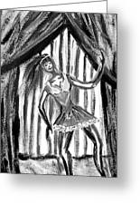 Jazz Dancer In Black  And White Greeting Card