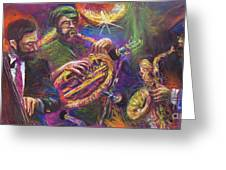 Jazz Jazzband Trio Greeting Card by Yuriy  Shevchuk