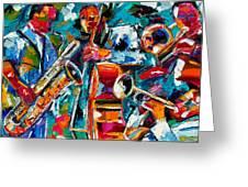 Jazz Magic Greeting Card by Debra Hurd