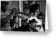 Jazz Men In Black And White Greeting Card