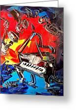 Jazz Piano Greeting Card by Mark Kazav