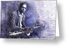 Jazz Saxophonist John Coltrane 03 Greeting Card by Yuriy  Shevchuk