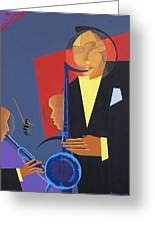 Jazz Sharp Greeting Card by Kaaria Mucherera