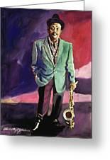 Jazzman Ben Webster Greeting Card by David Lloyd Glover