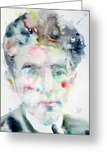 Jean Cocteau - Watercolor Portrait.2 Greeting Card
