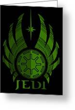 Jedi Symbol - Star Wars Art, Green Greeting Card