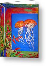 Jellyfish With Flowers Greeting Card