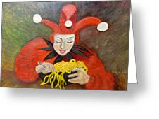 Jester And Spaghetti Greeting Card