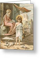 Jesus As A Boy Playing With Doves Greeting Card by John Lawson