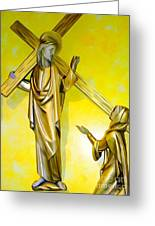 Jesus Carries The Cross Greeting Card